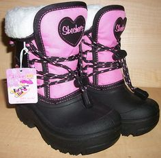 ENDING SOON!! Skechers Lil frost black/pink slip on cold weather boots childrens NWT $35.99