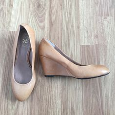 "Vince Camuto tan closed toe wedges Tan closed toe Vince Camuto wedges - never been worn 3 "" heel Vince Camuto Shoes Wedges"