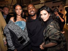 Star Tracks: Monday, February 16, 2015   THREE'S COMPANY   Rihanna, Kanye West and Kim Kardashian don't miss a photo op backstage at the rapper's New York Fashion Week show, where West showed his adidas Originals x Kanye West Yeezy Season 1 collection on Thursday.