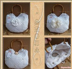 crochet bag chart - Would you believe this is just granny squares done in white with an embellishment stuck to the front? Granny squares never looked so good!