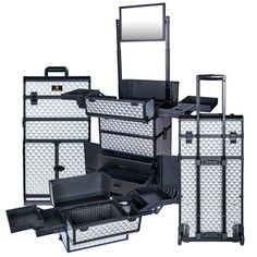 REBEL Series Pro Makeup Artists Rolling Train Case Trolley Case - Metallic Bond - ROLLING MAKEUP CASES - TRAIN CASES