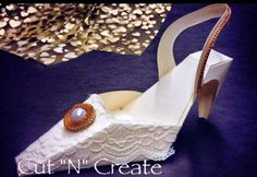 The Party Shoe Favour created with lace! So unique and perfect for so many occasions!  Wouldn't you just love getting one of these!?!?!? www.cutncreate.com http://facebook.com/CutnCreate