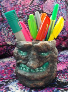 HALLOWEEN Horror Homemade Papier-Mache Character Pencil Pot Upcycled