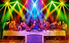 HD wallpaper: Last supper party, the last supper with stage light painting Jesus Jokes, Jesus Funny, Star Wars Wallpaper, Hd Wallpaper, Wallpaper Space, Radios, Ibiza, Psychedelic Experience, Psychedelic Art