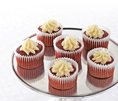 Fluffy and moist, these buttery Ghirardelli Mini Red Velvet Cupcakes are a crowd favorite. The white chocolate cream cheese frosting puts them over the top! You can thank us later.