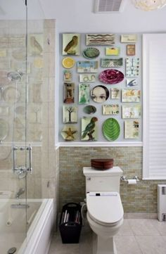 fletcherphotography eclectic bathroom - really like the multitude of hangings on the wall. Good idea for a small space so it's not totally overwhelming.