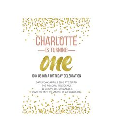 One Year Old Birthday Invitations 1st By DowntownParty 1 Girl