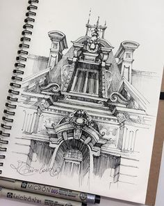 Sketch by Artist Kristina Gavrilova in Architecture Drawing Sketchbooks, A Level Art Sketchbook, Drawing Sketches, Drawings, Drawing Art, Sketching Techniques, Building Sketch, Sketchbook Inspiration, Sketchbook Ideas