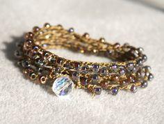 sunset in bronze - crochet bracelet/necklace