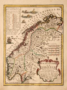 1719 Norway antique map with Sea monsters by Chiquet