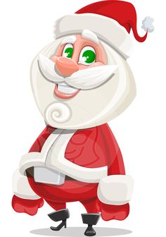 Saint Nick Holy-gift: a male #vector #cartoon designed as a #plump #Santa #Claus #character with a playful curl on his beard and a big mustache. Mr. Holy-gift would bring kindness and joy to any #Christmas project he is assigned to.