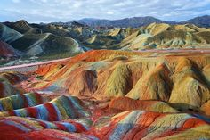 China: the enchanted mountains of the park Zhangye Danxia landscape in artist's proof. (Unable to find photog info)