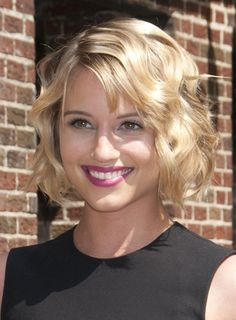 Dianna Agron's Short, Tousled, Wavy, Blonde Bob with Bangs is the newest version of the star's short bob