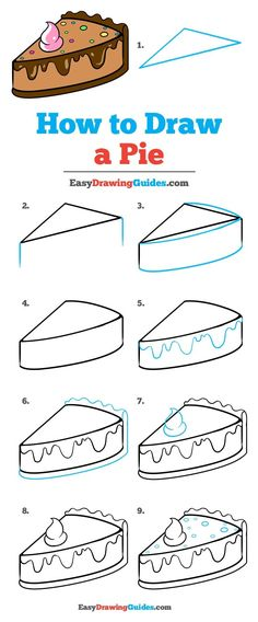 How to Draw a Tasty Pie - Really Easy Drawing Tutorial Pie Drawing Tutorial Easy Drawing Tutorial, Easy Drawing Steps, Drawing Tutorials For Kids, Drawing For Beginners, Step By Step Drawing, Drawing Ideas, Food Drawing Easy, Basic Drawing For Kids, Drawing Tips