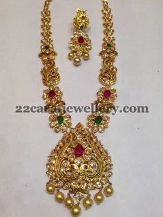 Jewellery Designs: Latest Pachi Set with Peacocks