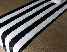 Black and White Stripe Table Runner Table by SewManyLinens on Etsy