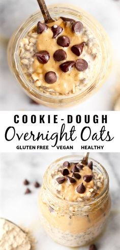 Vegan (Protein-Packed) Cookie Dough Overnight Oats Breakfast just got better! This healthy and easy recipe for vegan cookie dough overnight oats in a jar is dairy free, gluten free, and even has chocolate chips. It's also packed with protein to start your Cookie Dough Vegan, Vegan Protein Cookies, Protein Cookie Dough, Cookie Dough Recipes, Healthy Cookies, Oats Recipes, Gourmet Recipes, Vegan Recipes, Snack Recipes