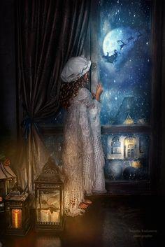 Rodionova Natasha ~ The Night Before Christmas I saw Santas sleigh from the attic window with K.
