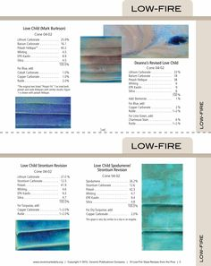 15 Low fire glaze recipes from the pros. Recipe cards for low-fire pottery gazes. www.ceramicartsdaily.com