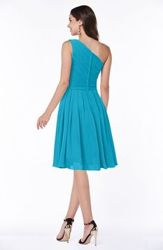 Teal Elegant Asymmetric Neckline Zipper Chiffon Knee Length Plus Size Bridesmaid Dresses