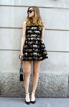 gold and black dress with ankle strap sandals