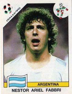 Nestor Fabbri of Argentina. 1990 World Cup Finals card. Uefa Football, National Football Teams, World Football, Football Soccer, America Album, Football Stickers, World Cup Final, Fifa World Cup, Vignettes