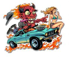 Speed Demon Flaming Hot Rod Metal Sign 17 x 13 Inches Cartoon Car Drawing, Car Drawings, Cartoon Art, Zombie Drawings, Caricature, Vintage Metal Signs, Rat Fink, Us Cars, Cool Cartoons