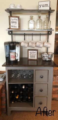 Thought I'd give my coffee station and new spin by adding wine Wine Station, Coffee Bar Station, Home Coffee Stations, Wine And Coffee Bar, Coffee Bar Home, Coffee Drinks, Coffe Bar, Coffee With Alcohol, Alcohol Bar