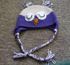 Purple and Linen child Sleepy Owl Hat, Crochet Hat, Sleepy Owl Hat, Crochet Kids Hat, Crochet Photo Prop, Owl Ear Flap Hat,  Hat For Kids by ArtfullyCreated4U on Etsy