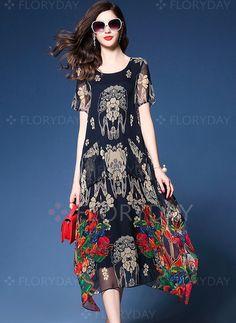 33c24f2b10 Asymmetric Crew Neck Floral-print Plus Size Holiday Boho Chiffon Dress