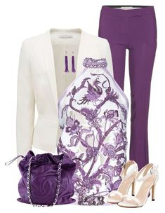 """Purple Pants & Blazer"" by maggie478 ❤ liked on Polyvore featuring Emilio Pucci, Forever New, Gucci and Chanel"