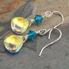 Swarovski+Crystal+Sterling+Silver+Earrings++by+YarrowJewelry,+$24.00