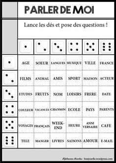 Jeux avec des dés - a bit young for college students, but really nice premade… French Verbs, French Grammar, French Teaching Resources, Teaching French, French Conversation, French Worksheets, Material Didático, Core French, French Education