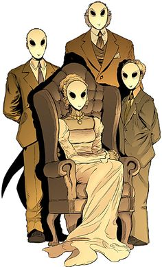 Court of Owls illustration.  I love the simplicity of the mask and suit together, or the mask and dress. Also, I love the suggestion that the Court has been around for generations via their clothing and the sepia-tone.