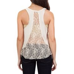 Clarity Juniors Knit Tank with Lace Back Detail, Von Maur