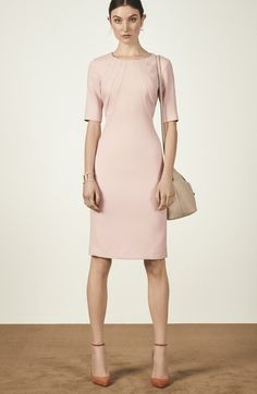 Free shipping and returns on Eliza J Seamed Crepe Sheath Dress at Nordstrom.com. Softened by a pastel-pink hue, this office-ready sheath dress takes a modern turn with crisp lines, intriguing seams through the bodice and flattering elbow-length sleeves.