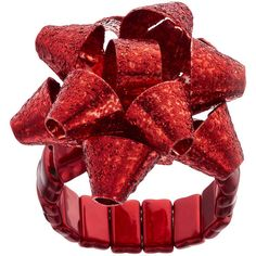 Holiday Bow Glitter Stretch Ring ($7) ❤ liked on Polyvore featuring jewelry, rings, brt red, stretch cocktail rings, glitter ring, red cocktail ring, holiday ring and holiday jewelry