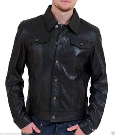 New Mens Leather Jacket Slim fit Biker Motorcycle genuine lambskin jacket - Mens Leather Shirt, Black Leather Bomber Jacket, Lambskin Leather Jacket, Biker Leather, Leather Men, Leather Jackets, Moto Jacket, Studded Jacket, Motorcycle Leather