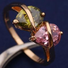 Genuine Peridot, Pink Topaz Gold Filled Ring Size 8