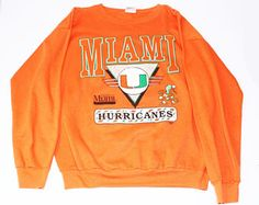 Vintage Miami Hurricanes sweatshirt and sweatpants University Of Miami Mens XL orange Camp Shirts, College Shirts, Sweatshirt Outfit, T Shirt, Graphic Tees, Graphic Sweatshirt, Miami Hurricanes, University Of Miami, Tumblr Fashion