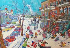 Miyuki Tanobe - my grandfather's favorite artist. She depicts typical french canadien scenes while using the japanese style of painting/colors. Quebec, Paint Colors, Sculpture, French, Landscape, City, Creative, Japanese Style, Recherche Google