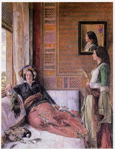 """Hhareem Life, Constantinople"", Watercolor,  1857 John Frederick Lewis (1805–1876)"