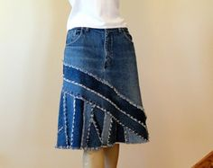 Denim & Paisley langen Rock Upcycled lange Denim von DenimDiva2day