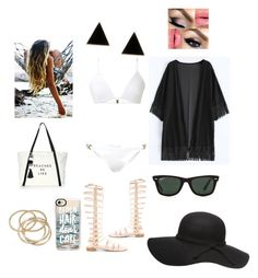 """Hold On"" by gabrielle1000love ❤ liked on Polyvore featuring Melissa Odabash, Stuart Weitzman, Milly, Casetify, ABS by Allen Schwartz and Ray-Ban"