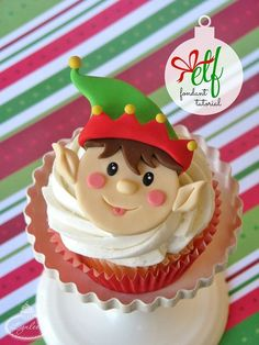 Celebrate the holidays and spread tidings of good cheer with this charming elf Christmas cupcake topper tutorial!