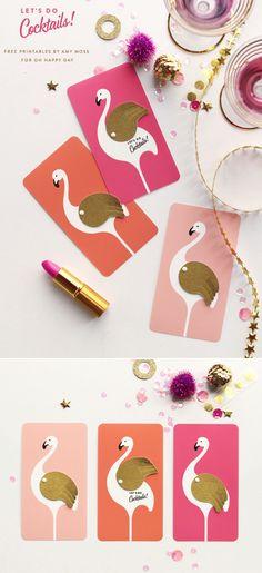 Flamingo party invites - free printable