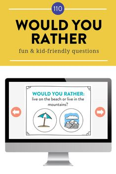 "Would you rather questions for kids! I love playing ""Would You Rather?"" at the beginning of the school year to break the ice and get students giggling as they learn to express their opinions and share their reasoning."