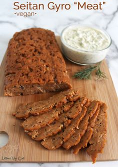 """Learn how to make a delicious, easy and meaty vegan gyro with this epic recipe for seitan gyro """"meat"""". Packed with protein, flavor and all the meaty texture you could want, this recipe is a delicious and healthy vegan dinner. #vegan #veganrecipe #seitan #gyros #vegandinner #veganmeal #veganprotein #healthyvegan #healthydinner #highprotein #vegetarian #vegetarianrecipe #plantbased #veganmeat #meatless #meatfree Vegetarian Gyro Recipe, Vegan Seitan Recipe, Vegan Chickpea Recipes, Seitan Recipes, High Protein Vegan Recipes, Going Vegetarian, Vegan Dinner Recipes, Vegan Foods, Vegetarian Food"""