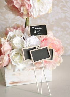 SET of 12 Rustic Chic Chalkboards On Sticks Table by braggingbag