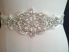 2 APPLIQUES, Clear Rhinestone Pearl Wedding Bridal Dress Applique Trim = DIY!